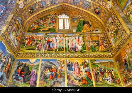 L'intérieur, des fresques représentant des scènes de la Bible, Saint Sauveur (Vank) Cathédrale Arménienne, Ispahan, Iran, Moyen-Orient Banque D'Images
