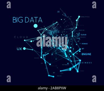 Concept de Big Data dans word tag cloud avec plexud dot et connexion de ligne. Background illustration géométrique.