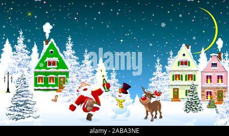 Père Noël, bonhomme de neige et les cerfs dans la nuit de Noël, sur l'arrière-plan de maisons et forêt. Les maisons couvertes de neige et d'arbres. La neige, des flocons de neige. Star