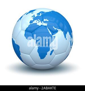 Ein Fussball mit dem Motiv auf weissem Grund und Weltkarte