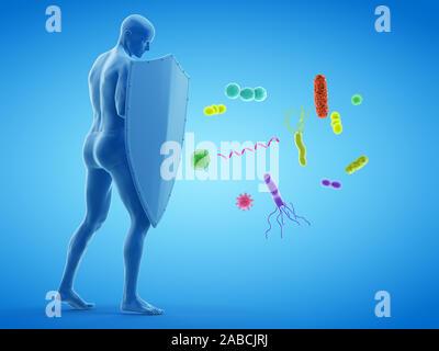Rendu 3D de la défense immunitaire de l'illustration conceptuelle Banque D'Images