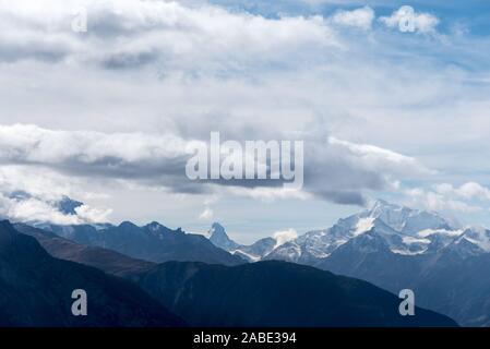Matterhorn, Monte Cervino, Bettmeralp, Wallis dans les alpes suisses en Suisse, l'Europe de l'Ouest Banque D'Images