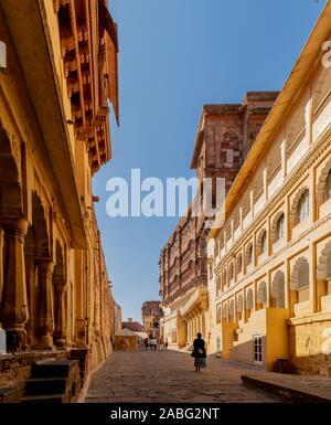 Fort Mehrangarh, Jodhpur, Rajasthan, Inde; 24-fév-2019; rues à l'intérieur du fort Mehrangarh