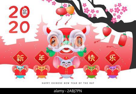 Le Nouvel An chinois 2020 Carte de souhaits de petits rats colorés dans diverses couleurs avec costumes traditionnels, prunier arbre et danse du lion dragon. Calli Banque D'Images