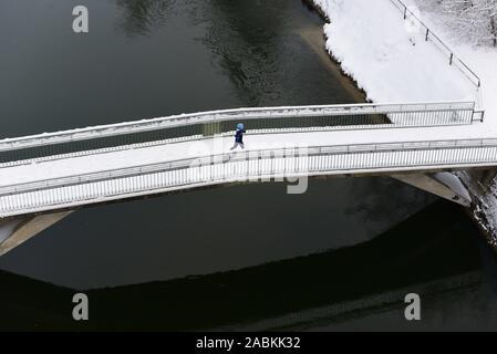 Pont sur l'Isar près de Großhesselohe, Pullach municipalité [traduction automatique] Banque D'Images