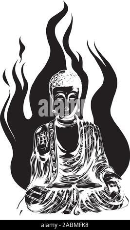 Vector icône religieuse de statue de Bouddha. Golden Buddha assis et prie dans la position du lotus. Banque D'Images