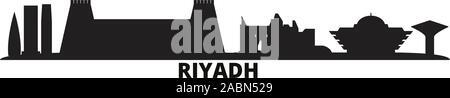 L'Arabie saoudite, Riyad ville illustration vectorielles. L'Arabie saoudite, Riyad billet black cityscape Banque D'Images