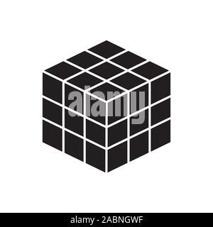 Vecteur vecteur icône noire. jouet cube puzzle, carré 4x4. Jouet puzzle mécanique. vector illustration isolé sur fond blanc. De bébé et de l'élément Banque D'Images