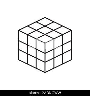 Ligne vectorielle, icône vecteur linéaire. cube puzzle jouets, 4x4 carré. Jouet puzzle mécanique. vector illustration isolé sur fond blanc. Élément de bébé Banque D'Images