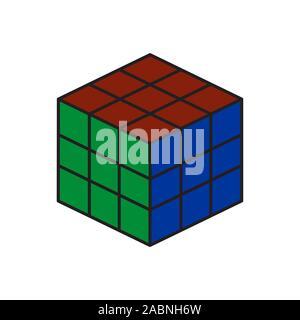 L'icône couleur du vecteur. vecteur cube puzzle jouets, 4x4 carré. Jouet puzzle mécanique. vector illustration isolé sur fond blanc. De bébé et de l'élément Banque D'Images