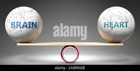 Le cerveau et le coeur en équilibre - représenté comme balles équilibré sur l'échelle qui symbolisent l'harmonie et l'équité entre le cerveau et le coeur qui est bon et avantageux Banque D'Images