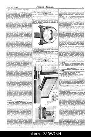 Soin de la sécurité des machines--ot d'ouvriers. Les qualités de chromate de potasse. La correspondance. Équivalent mécanique de Mae., Scientific American, 1871-07-22 Banque D'Images