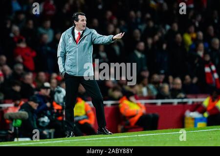 Londres, Royaume-Uni. 28 Nov, 2019. Ligue Europa: football, Arsenal FC - Eintracht Frankfurt, phase Groupe, Groupe F, 5e journée, à l'Emirates Stadium. L'entraîneur Unai Emery de Londres. Credit: Uwe Anspach/dpa/Alamy Live News Banque D'Images
