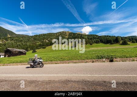 Vertes prairies et bois à la montagne avec un motard, Viezzena point culminant. Val di Fiemme Bellamonte village, Predazzo, Trentin-Haut-Adige, Italie, Europe Banque D'Images