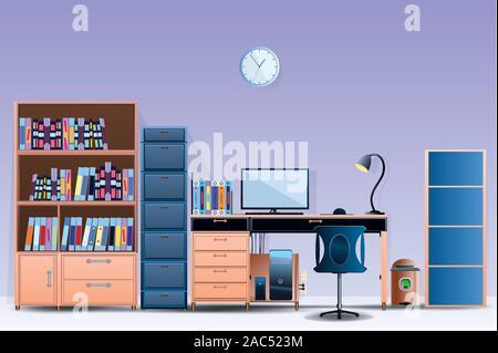 Prix de l'intérieur de conception de modèle de bureau un bureau confortable prix Illustration vecteur sur fond coloré mur style dessins animés