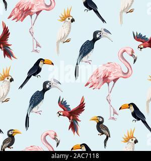 Junngle avec motif transparent comme l'oiseau flamingo, perroquet, toucan. Vecteur. Banque D'Images