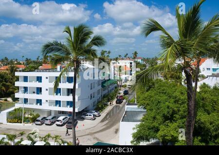 Vue aérienne de la station touristique des Caraïbes, Punta Cana, République Dominicaine Banque D'Images