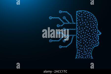 L'Intelligence Artificielle faible conception poly, AI, tête humaine, des sciences de l'image géométrique abstraite wireframe polygonal mesh vector illustration faite d'un point Banque D'Images