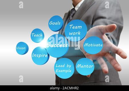 L'homme d'affaires succès montre le diagramme abstrait Banque D'Images