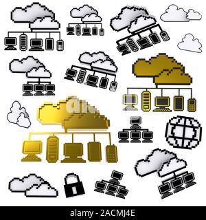 Réseau cloud icône pixel Banque D'Images