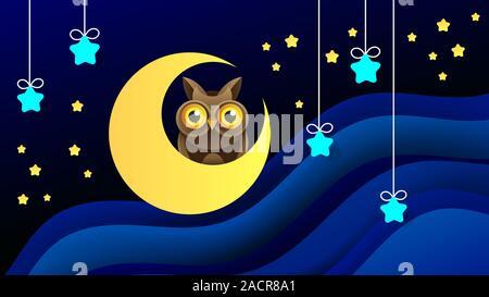 Illustration magique avec lune et les différents éléments de l'espace. Étoiles, planètes, l'espace. Vector Banque D'Images