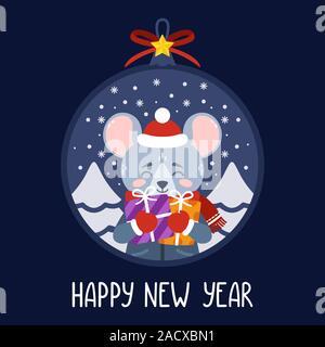 Boule de Noël avec l'image de rat holding gifts. Le symbole du Nouvel An chinois 2020. Carte de souhaits avec une souris pour le Nouvel An et de Noël Banque D'Images