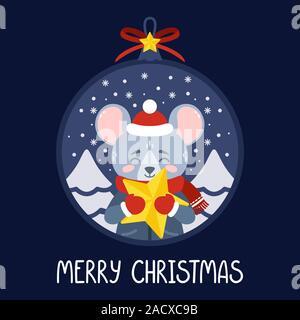 Boule de Noël avec l'image de rat tenant une étoile jaune. Le symbole du Nouvel An chinois 2020. Carte de souhaits avec une souris pour la nouvelle année et C Banque D'Images