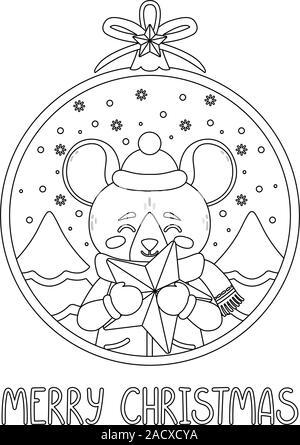 Boule de Noël avec l'image de la tenue d'un rat star. Le symbole du Nouvel An chinois 2020. Carte de souhaits avec une souris pour la nouvelle année et Christma Banque D'Images