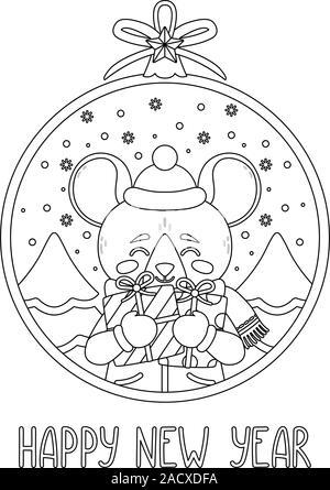 Boule de Noël avec l'image de rat holding gifts. Carte de souhaits avec une souris pour le Nouvel An et de Noël. Vector illustration. Style scandinave Banque D'Images