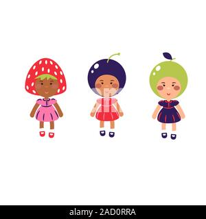 Les enfants costumés vector cartoon illustration. Enfants vêtus de costumes de fruits. Banque D'Images