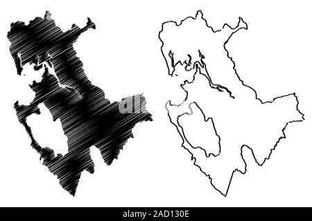 La Province de Darien (République du Panama, les provinces du Panama) map vector illustration, scribble sketch carte Darien Banque D'Images
