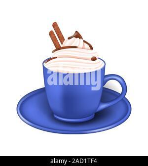 Tasse de crème photo réaliste et des bâtons de chocolat Banque D'Images