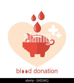 Icônes de télévision Concept Medical Tirelire comme don de sang Banque D'Images