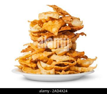 Baklava sucrées avec du miel on white plate Banque D'Images