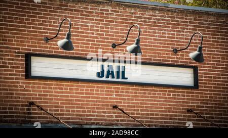 Plaque de rue en prison Banque D'Images