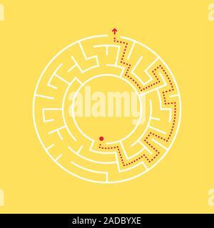 Un labyrinthe circulaire et le chemin vers la sortie du centre. Banque D'Images