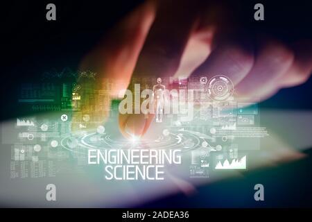 Finger touching tablet à la technologie web icones et sciences techniques inscription