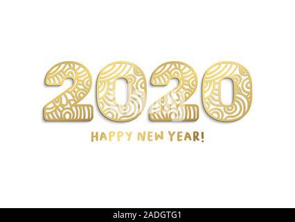 Bonne année 2020 lettres découpées au laser d'or. Zodiaque chinois avec des chiffres isolé sur fond blanc.Paper Cut clipart. Carte de vœux de Nouvel An, modèle vecteur bannière Banque D'Images