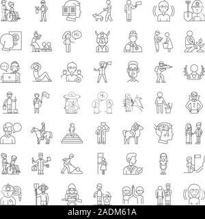 Communauté de charité icônes linéaire, signes, symboles ligne vectorielle illustration set Banque D'Images
