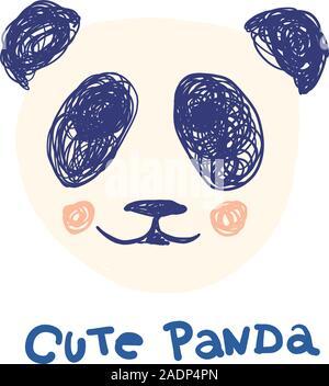 Visage de panda mignon et le lettrage pour les enfants et adultes vêtements imprime écran en 3 couleurs - la marine, beige et rose en doodles hand drawn style. L'illustration de mode dessin dans un style moderne. Banque D'Images