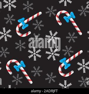 Canne transparente et snowflake background sur noir. Image vectorielle. Différents emballages. Banque D'Images