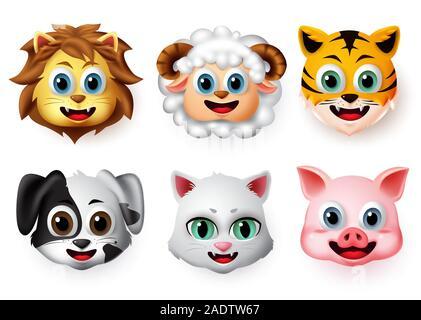 Émoticônes et smileys animal heureux face vector set. Face de lion emoji animale, agneau, tigre, chien, chat et cochon souriant créature en caractère d'expressions. Banque D'Images