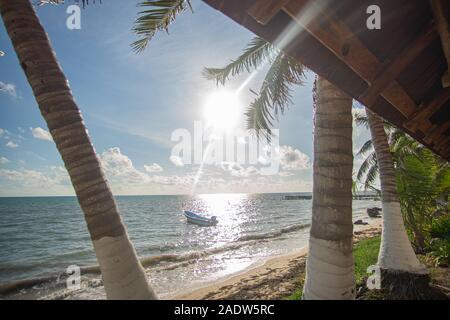 Plage paradisiaque de Punta Allen à la mer des Caraïbes