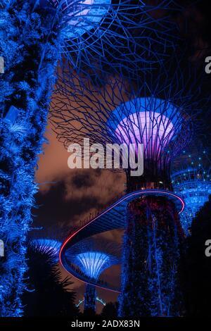 Singapour - 2 Avril, 2018: Lumière d'arbres géants au jardin par la baie de nuit à Singapour.