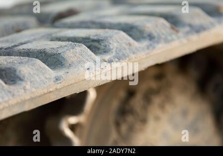 Détail de l'image d'un bulldozer sur chenilles en caoutchouc Banque D'Images