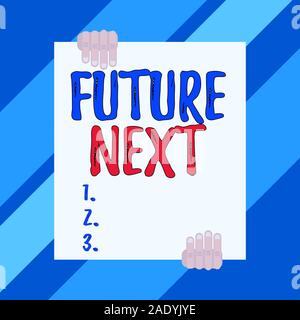 La main conceptuel montrant Futuro suivant. Sens Concept Ensemble de processus mental Huanalysis l'esprit unique de flux de deux icônes hands holding big blank r Banque D'Images