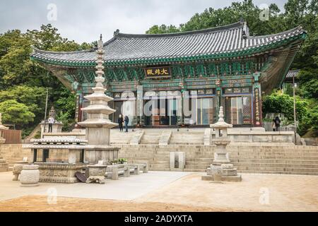Séoul Corée , 20 septembre 2019: salle principale de Bongeunsa ou Daewoongjeon un temple bouddhiste dans le quartier de Gangnam Seoul Corée du Sud Banque D'Images