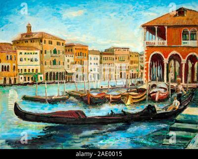 Une peinture à l'huile gondoles vénitiennes, célèbres bateaux attendent les touristes sur le Grand canal à Venise, Italie.