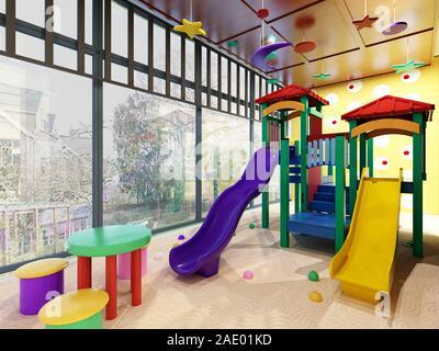 L'école de rendu 3D, l'intérieur de l'espace jeu Banque D'Images