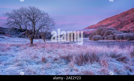 Un matin d'hiver glacial et froid avec brouillard dérive sur Loch Awe dans les Highlands écossais en attente pour le soleil se lève